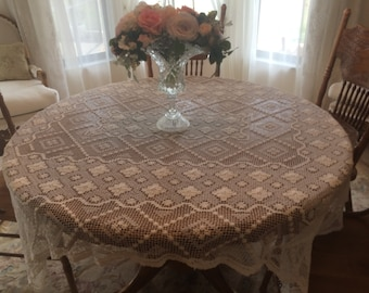 "Antique Filet Lace Tablecloth 54"" X 68"""
