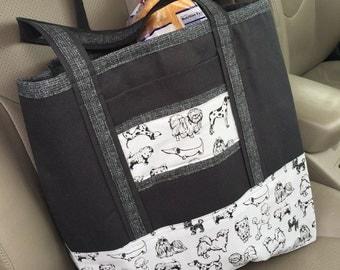 Dog Themed Tote Bag // Dog Grocery Bag // Everyday Tote Bag