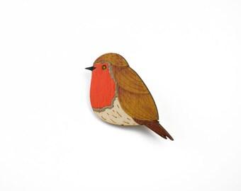Wooden robin brooch, hand-painted brooch, garden bird brooch, wooden jewellery, robin badge