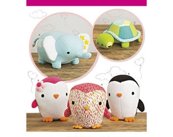 Simplicity Pattern 8069 Stuffed Penguins, Turtle and Elephant.