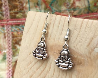 Buddha earrings, buddha jewelry, small buddha earrings, silver buddha, spiritual, zen, buddha, drop earrings, Buddha Jewelry,