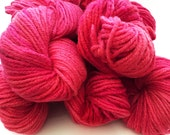 Hand Dyed Rose/Pink Yarn Cormo Wool 10 Ply Aran Weight  100g x 5