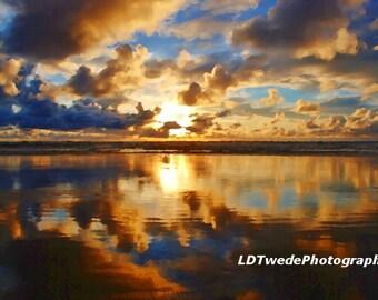 Sunset Photograph, Seascape Art, Reflection, Seashore, Dramatic Sky, Clouds, Beach, Waves, Beach Art, Oregon Coast, Impressionism