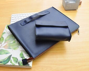 Blue Leather Dell Laptop Sleeve New Dell XPS 13 Case Leather Microsoft Surface Pro 4 Case Surface Book Leather Bag for HP Laptop Cover-103