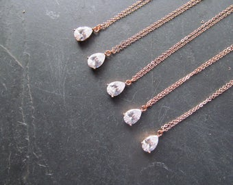 rose gold necklace, rose gold bridesmaid necklace, rose gold crystal necklace, rose gold pendant necklace, rosegold bridesmaid