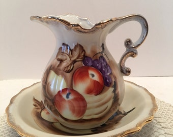 Enesco Japan Bowl and Pitcher ~ Water Basin and Jug ~Fruit Motif Design ~ Hand painted ~ Gold Trim ~ Scalloped Edge ~ Vintage