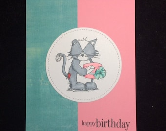 Kitten With Gifts Birthday Greeting Card