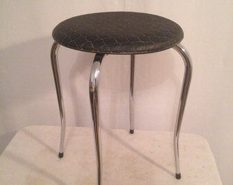 Antique foot stool waisted 70s Vintage black embossed seat