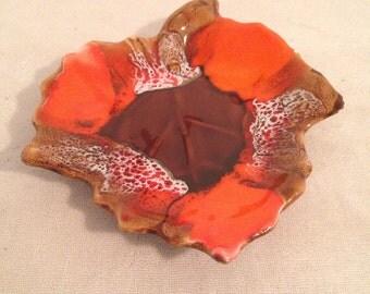 Tidy French VALLAURIS ceramic Vintage leaf shape