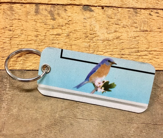 Blue Bird License Plate Keychain -Key Ring Key Chain Made from Missouri Plate - Gift for Mom / Wife / Daughter / Friend