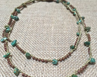 Turquoise and green crochet necklace-boho crochet necklace, -Southwest turquoise - layering crochet necklace, bohemian crochet jewelry
