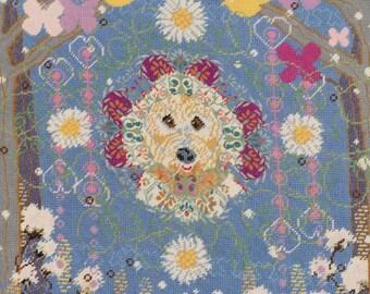 custom designed needlepoint dog pillow, labradoodle