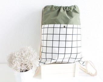 Handmade Military green Gym bag,sport bag, traveling bag,waterproof backpack,heavy use bag with big pocket outside and small pocket inside.