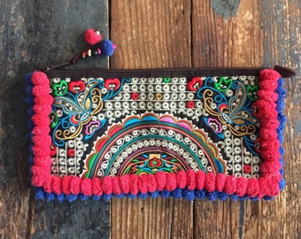 Colourful Embroidered Clutch With Pom Poms Made In Thailand