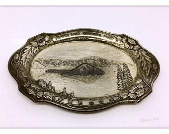 Occupied Japan Vintage Crater Lake National Park Oregon Souvenir Tray