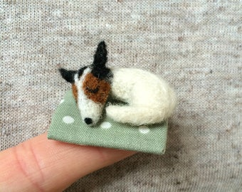 Jack Russell Terrier Easter Gift Miniature Dog Needle Felted Tiny Bear Ooak Trimble Berry Bears