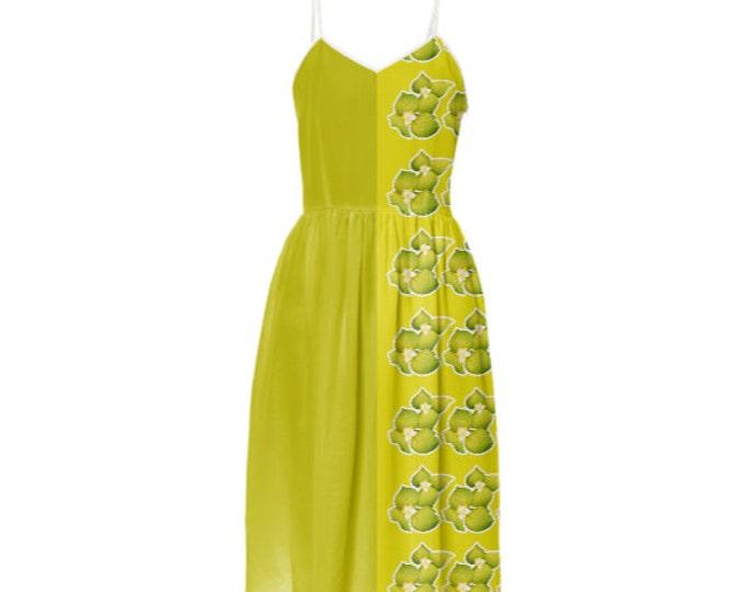 Floral Scent Fashion Dress - Party Dress,Long Dress,Sleeveless Sundress,Braces Floral Dress,Sling Dress,Gold Summer Dress,Custom-Made Dress