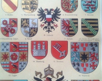 """Chromolithograph """"Coat of arms of I."""""""