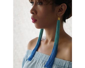 Blue Green Extra Long Tassel Earrings, Hand dyed Ombre Long Fringe Statement Earrings, Ombre Earrings Boho Chic Style, Bohemian / BLUE SEA