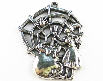 5pcs 40x33mm Witch Charms The Halloween Pendant Jewelry Necklace Accessories LJMY