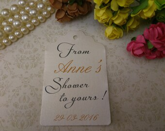 Shimmer pearl From My Shower To Yours Tag, Bridal Shower Favor, Wedding Shower Gift Tag, Party Game Prize Tag - Set of 25 to 300 pieces