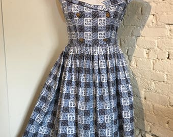 Vintage 1950s-1960s Rosebud Check Print Cotton Dress