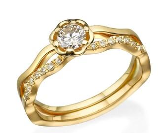 Engagement Ring, 14K yellow gold Ring, Statement Ring, Engagement Band,  yellow Ring, Floral Ring, Promise Ring, Diamond ring, Flower Ring