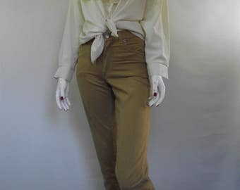 Vintage 80s Calvin Klein tan brushed cotton velvet feel cropped pants trousers size small