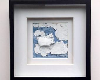 Polar Bear Pebble Art in Shadowbox
