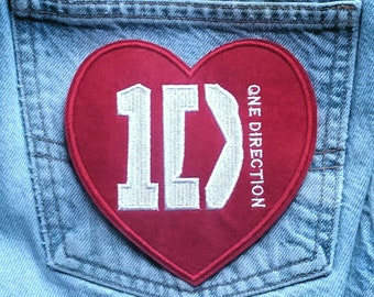 Large One Direction  Embroidered Iron -On Pocket  Patch 5'' X 5''