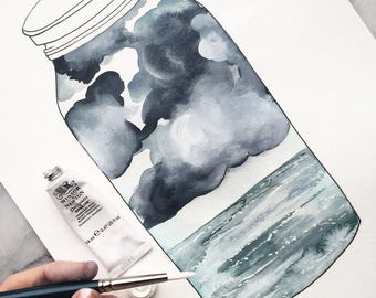 A Terrarium of a Moody SKY with CLOUDS and the Sea // WATERCOLOR Art Print from Original Painting Gouache Watercolour Payne's Gray The Mint