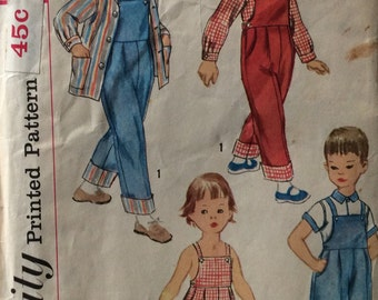 Simplicity 2357 child's shirt and overalls or sunsuit size 2 vintage 1950's sewing pattern