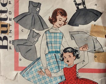 Butterick 9164 girls jumper and skirt with suspenders size 4 vintage 1950's sewing pattern