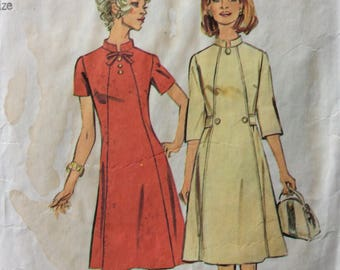 Simplicity 6158 vintage 1970's misses A-line dress sewing pattern size 20 1/2 size 20.5 bust 43  Half size Look Slimmer