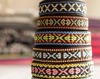 Bohemian jacquard ribbon, Embroidery Vintage Jacquard Border Trim Woven Trim, 1.8-2cm wide, 7 styles available - by 2 yards
