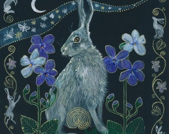 Moon Moths and Violet Hares Giclee print