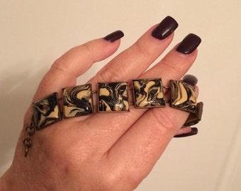 Beige, Brown, Cream, and Black Square Link bracelet