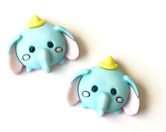 Dumbo Tsum Tsum Stud Earrings, Cute Disney Characters, Minnie Mouse, Pooh, Tigger, Mickey, Marie, Jewelry