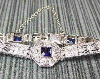 Vintage Diamond Bracelet Sapphire Bracelet Art Deco Filigree Bracelet White Gold Diamond Bracelet Calibre Sapphire Bracelet