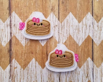 Pancake hair clips, pancake clippies, breakfast hair clips, pancake hair bows, girls hair bows, girls hair clips, toddler hair clips