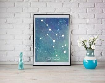 Virgo Printable Art, Art Print, Wall Art Print, Download Print, Instant Download, Constellation Art Print, Zodiac Art Print