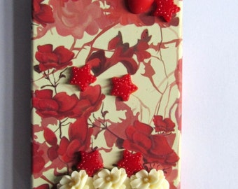 Embellished forest stars flowers mobile cell phone iphone 4 / 4s hard case