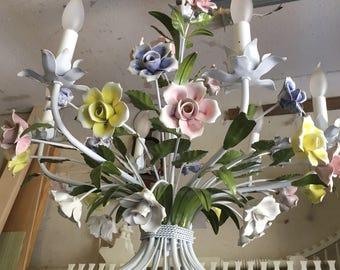 Antique Italian Capodimonte  Porcelain Flower Tole Chandelier