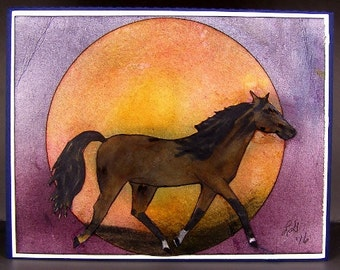 Horse Silhouette Card, Greeting Card - Horse Card - Equestrian Card