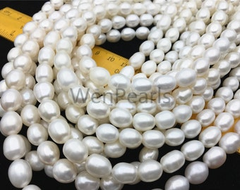 AA 8.5-9.5x8-10mm white rice pearl,for leather pearl necklace,pearl choker necklace,Cultured ...
