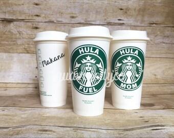 Personalized Reusable Travel Coffee Cup Tumbler 16 oz. Grande- Hula Fuel Hula Mom