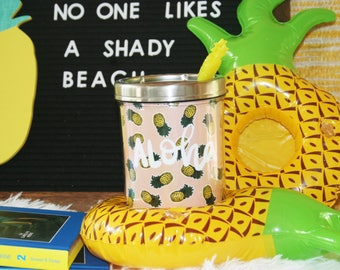 Aloha Pineapple 9oz/12oz Illustrated Vacation Summer  Drink Cup Holder