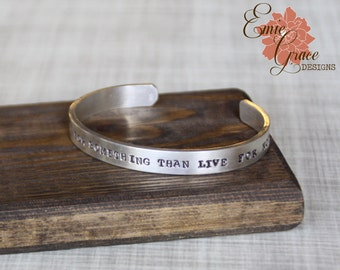 Thick Sterling Silver Cuff Bracelet, Personalized Message, Hand Stamped Message Bangle