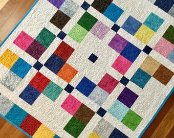 "Modern multicolored geometric squares quilt 42"" x 50""  sofa throw lap quilt baby quilt"