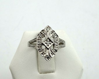 1930's Vintage Art Deco Diamonds in a 10K White Gold Ring #WGDECO-GR4